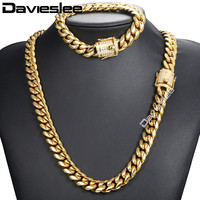Davieslee Miami Curb Womens Mens Jewelry Set Iced Out Cubic Zirconia CZ 316L Stainless Steel Gold Silver 12/14mm DHSM03
