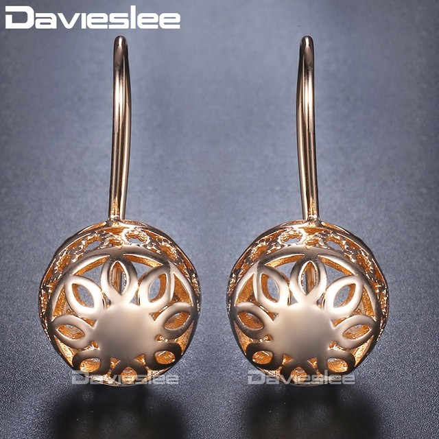 Us 2 99 20 Off Aliexpress Davieslee Dangle Earring For Women Engraving Flowers Round Ball Womens 585 Rose Gold Filled Jewelry
