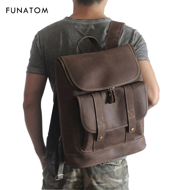 Genuine Leather Men Bag Men Backpack Fashion Male School For Teenage Backpack Cow Leather High Quality Travel Bag Japanese Style 2018 fashion men backpack genuine leather bag men travel backpack laptop famous brands high quality male big capacity backpack