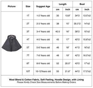 Image 2 - Chaqueta con capucha de mezcla de lana para niña, Poncho, Carseat, Color gris, manga de murciélago, bolsillos, moda de primavera y otoño