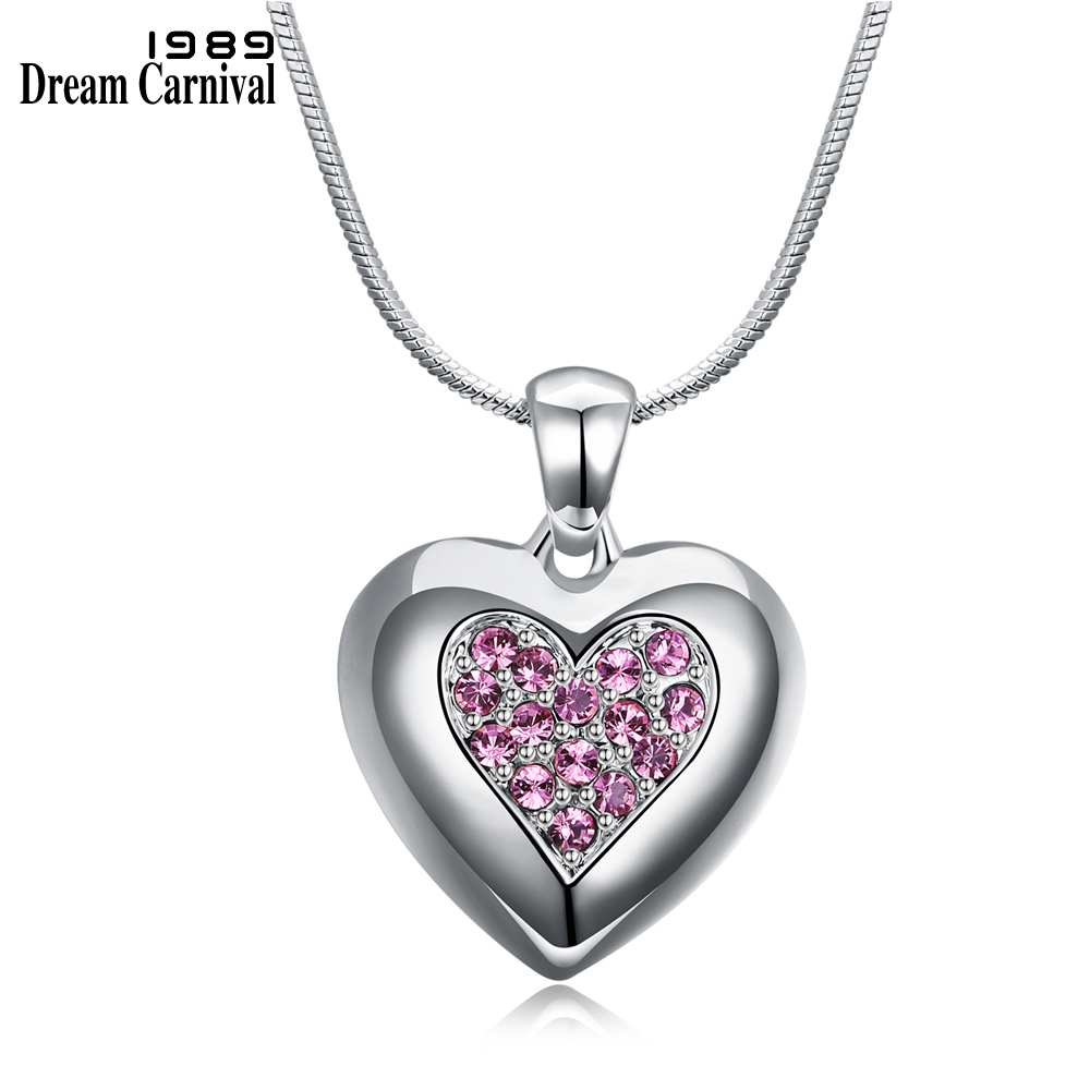DreamCarnival 1989 Flash Deal Sales Party Jewelry parure Bijoux femme Pink Crystals Heart Pendant Necklace for Women 18N1019 12