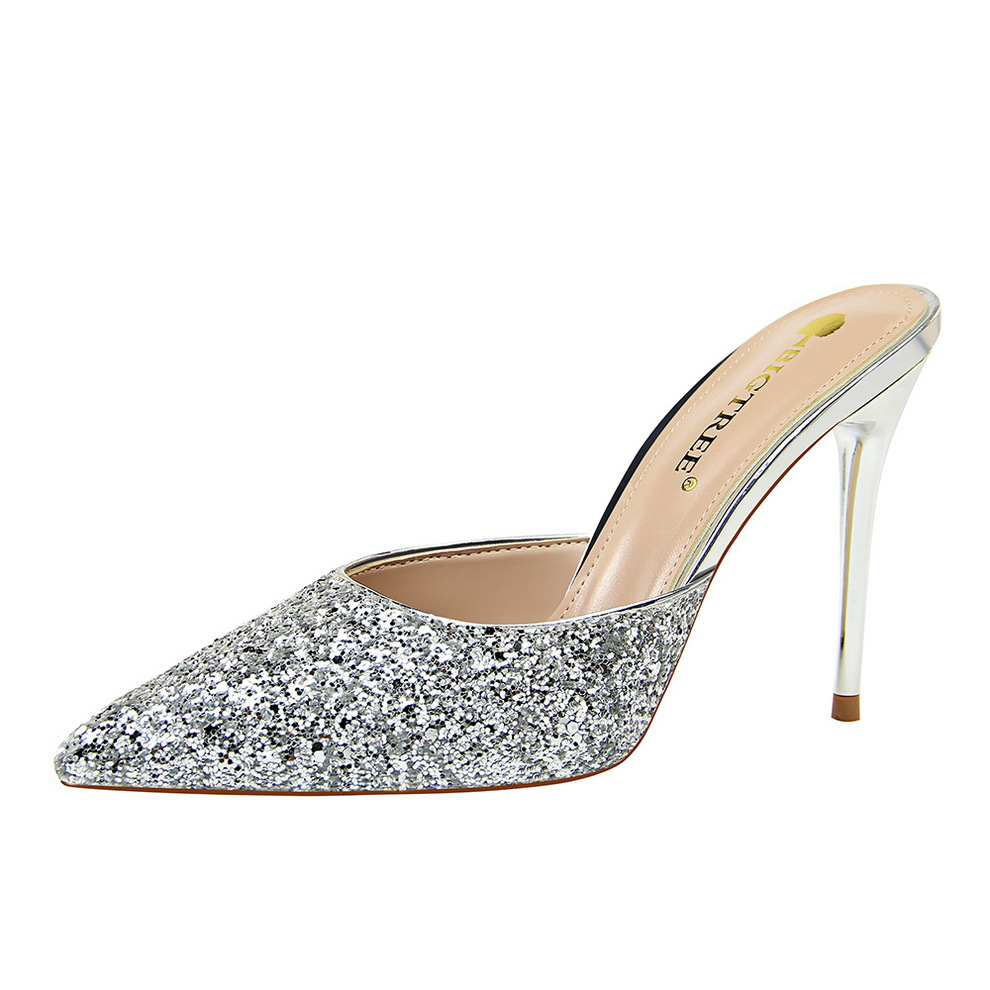 283-12 Simple Metal With Fine Heel Shallow Mouth Pointed High-heeled Sequined Woman Sandals283-12 Simple Metal With Fine Heel Shallow Mouth Pointed High-heeled Sequined Woman Sandals