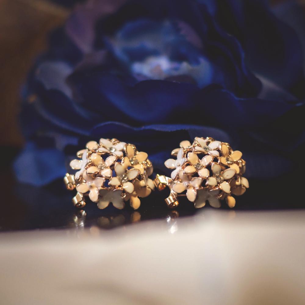 Stud Earrings for Women Female 2017 Boucle d'oreille Crystal Flower Clover Earring Gold Bijoux Jewelry Brincos Mujer