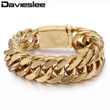 Davieslee мужской браслет тяжелых цепи Цвет серебристый, золотой тон 316L Нержавеющая сталь с Curb Link оптовая продажа Модные украшения 20 мм LHB318