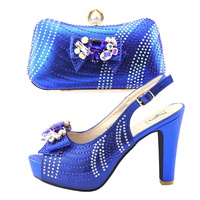 Royal blue shoes and bag set matching high heel 4.3 inches sandal shoes matching clutches bag set african shoe and bag SB8297 2
