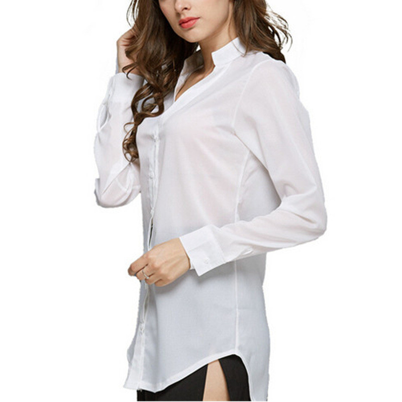 2018 Spring Women Chiffon Blouses Long Sleeve Causal Blouse Shirt Simple Design Elegant Ladies Office Work Shirt Summer Thin Top