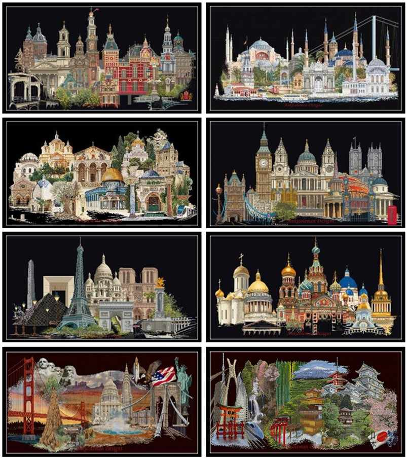 Embroidery Counted Cross Stitch Kits Needlework - Crafts 14 ct DMC Color DIY Arts Handmade Decor - Famous Cities Collection