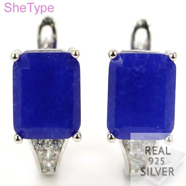 SheType 3.4g Real Blue Sapphire White CZ Gift For Sister 925 Solid Sterling Silver Earrings 14x7mmSheType 3.4g Real Blue Sapphire White CZ Gift For Sister 925 Solid Sterling Silver Earrings 14x7mm