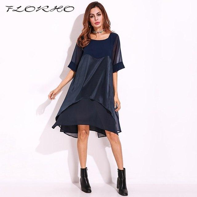 68d4b230e51c34 Elegante Casual Party Kleider Frauen Mesh Stich Sheer Kleid Damen Rundhals  Durchsichtig T Hemd Kleid Plus