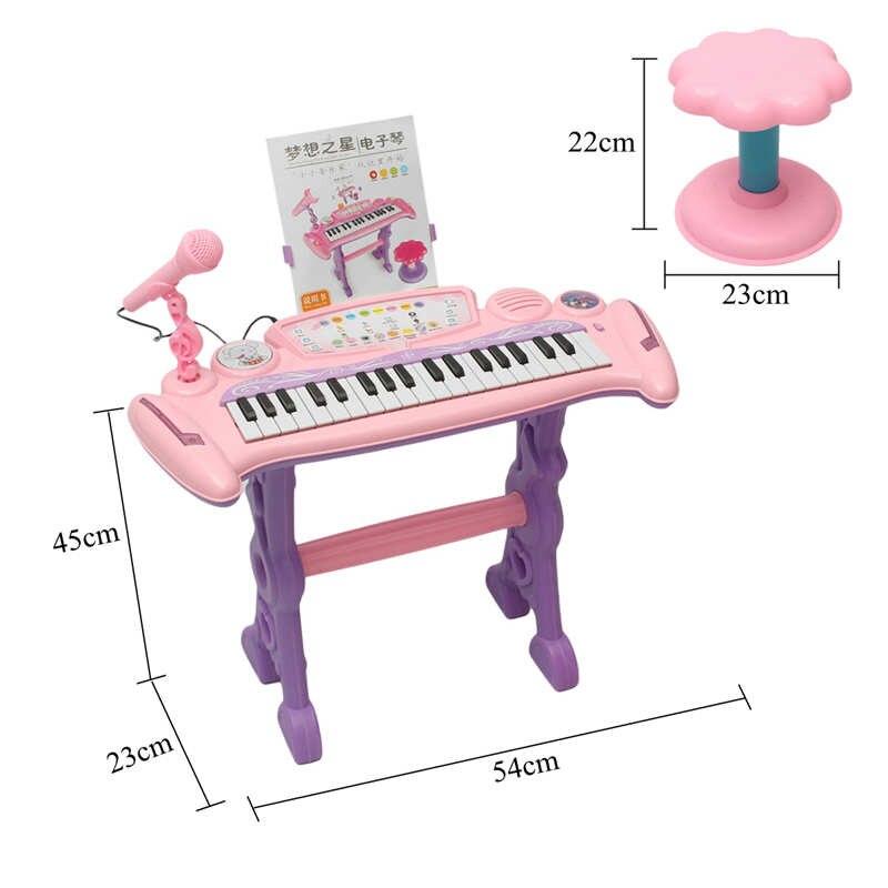 Rose 37 clés enfants clavier électronique Piano orgue jouet/Microphone musique jouer enfants jouet éducatif cadeau pour les enfants - 6