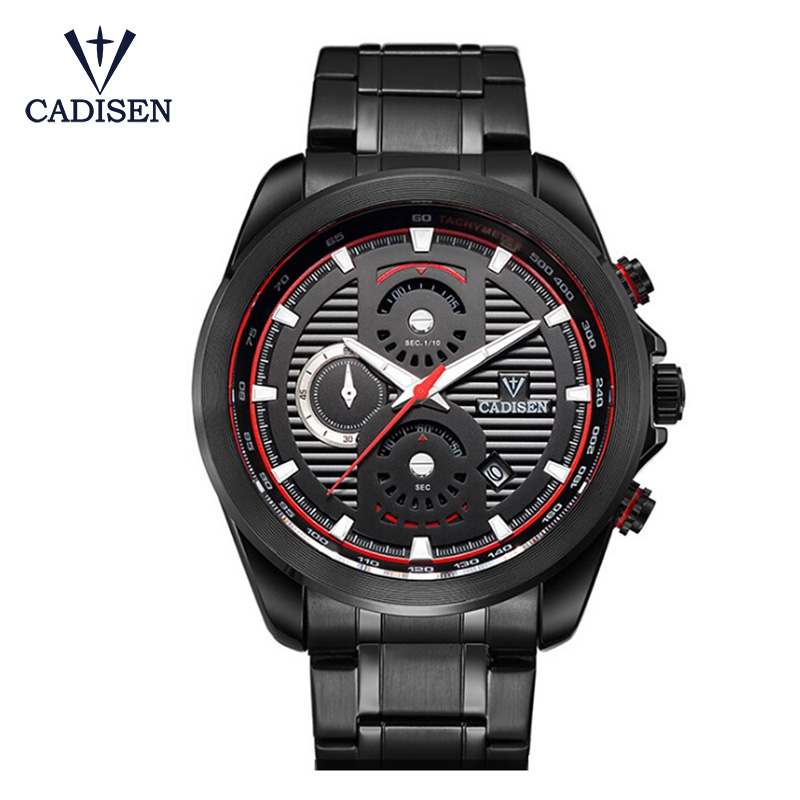 CADISEN New Men Three Eyes Stainless Steel Quartz Watch Men Luxury Brand Black Clock Relogio Masculino Sports Watches Hot Sale new fashion brand round dial black couple watch men luxury stainless steel casual quartz watches relogio masculino clock hot