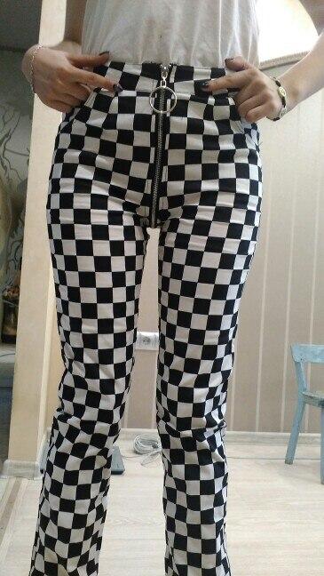 Plaid Zipper Checkered Straight Pants Women Fashion Casual Slim Pockets Long Pants Black White Pencil Pantalon Femme photo review