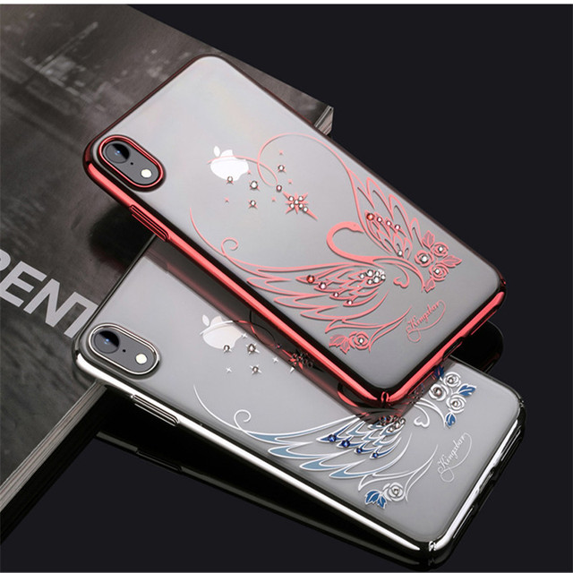 the latest 81d51 43e29 US $19.99 |KINGXBAR Cartoon Bling diamond Cover for iPhone X Xs XR XS Max  Swan Pattern Authorized Swarovski Plastic Case for iPhone XR Capa-in ...