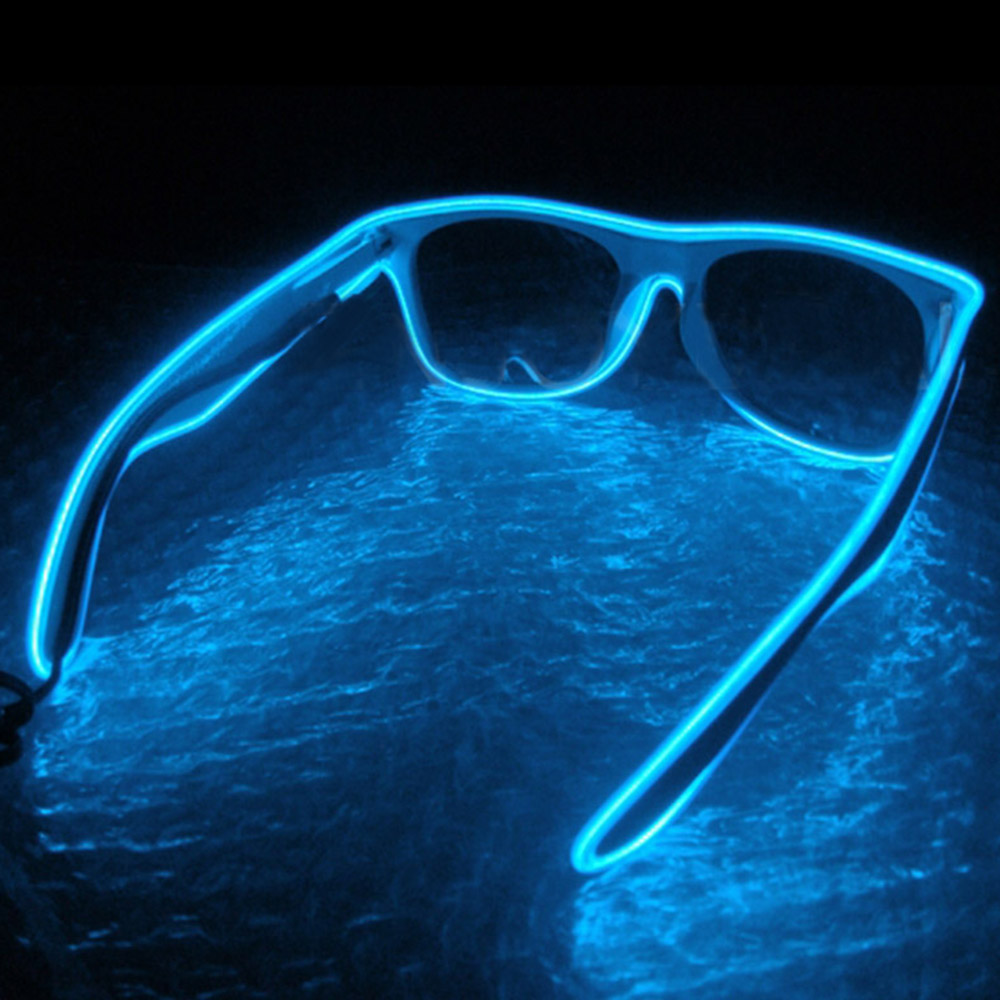 1Pc EL Wire Strip Light Glowing Shades Eye-wear Glasses Party Bar Decor Neon Led Light Special Shutter Light Up/Cool