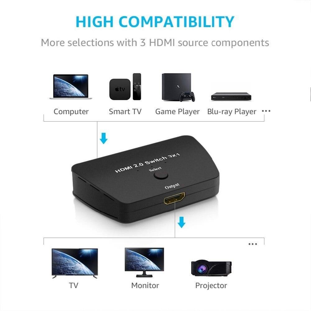 Image 4 - Hdmi 2.0 스위치 3x1, 18 gbps 3 포트 hdmi 2.0 선택기 4 k x 2 k 스위치 박스, 고해상도, 고속 3d hdmi 포트 스위치메모리 카드 어댑터   -