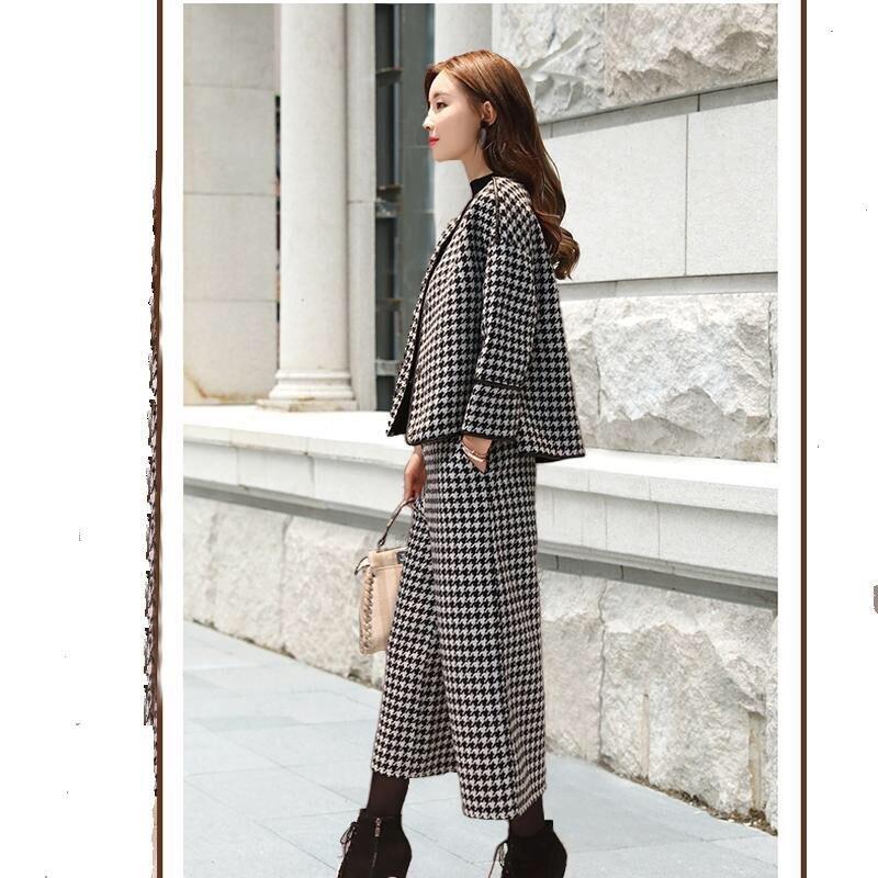 Women s 2019 autumn winter new plaid woolen suit wide leg pants thick large size suit