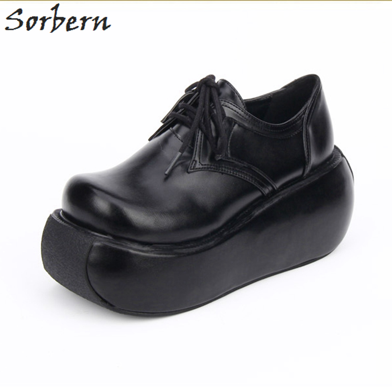 Sorbern Black Matt Pu Wedge Heels 8Cm Women Pumps Lace Up Platform Ladies Shoes Punk Style Lolita Girls Pump High Heels women lace up lolita shoes ladies pumps japanese style high heels chunky heel comfortable wear free shipping