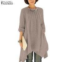 2017 ZANZEA Vintage Women Autumn O Neck Long Sleeve Asymmetrical Hem Solid Long Shirt Blouse Casual