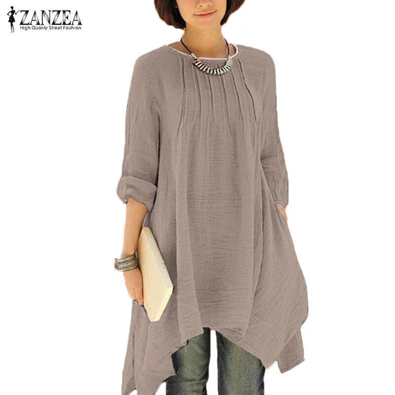 027bfd4c8ad9 2019 ZANZEA Vintage mujer otoño cuello redondo manga larga ...