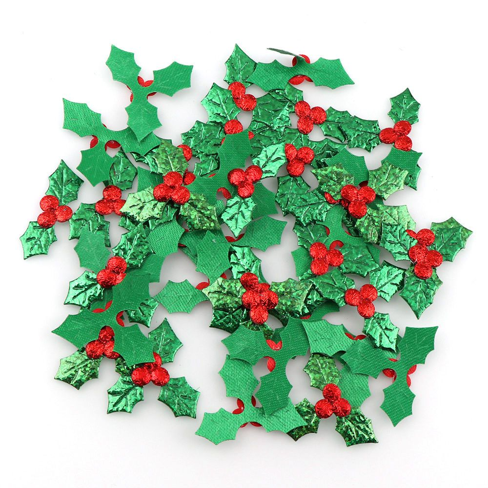 100pcs Table Decoration Holly Berries And Leaves Appliques For Christmas Decoration ,Stick-on DIY  Laser Green Color