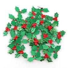 100 Uds Decoración de mesa acebo bayas y hojas apliques para la decoración de Navidad, palo de bricolaje láser de Color verde