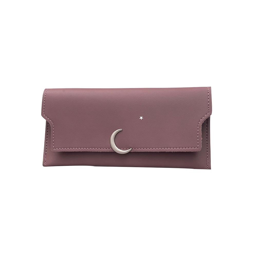 Fashion Simple Solid Color Faux Leather Women Purse Card Cash Holder Wallet Gift ...