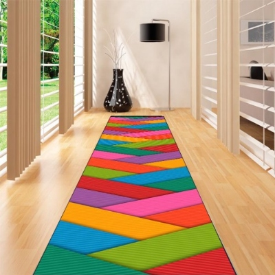 Else Green Blue Orange Pink Lines Geometric 3d Print Non Slip Microfiber Washable Long Runner Mat Floor Mat Rugs Hallway Carpets