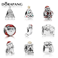 DORAPANG 100 925 Sterling Silver Crystal Christmas Day Tree Charm Beads Pendant Fit Bracelet DIY Bracelet