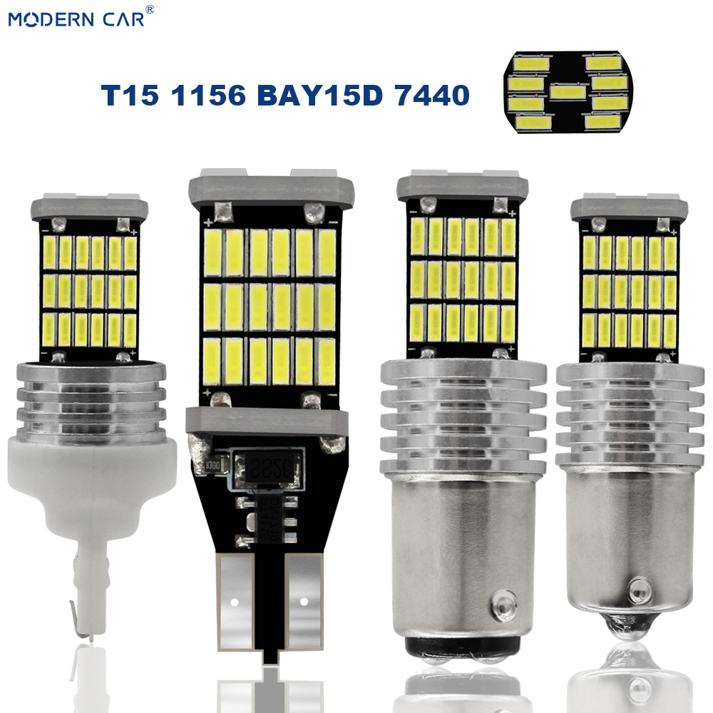 MODERN <font><b>CAR</b></font> <font><b>T15</b></font> <font><b>LED</b></font> <font><b>Car</b></font> T10 <font><b>T15</b></font> 45LED 4014 45SMD T16 Bulb Lights Error Free Canbus Parking <font><b>Lamps</b></font> Backup Turning Signl Trunk Light image