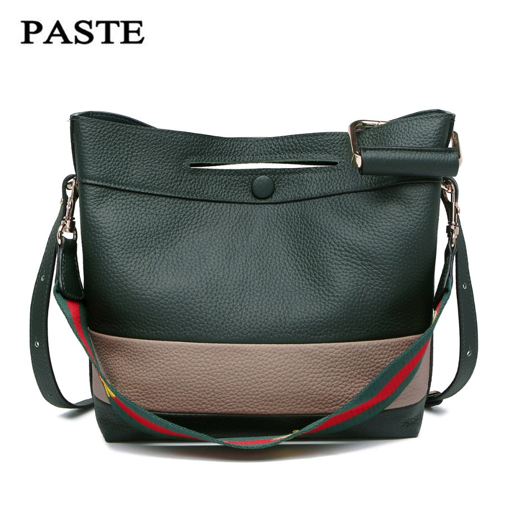 2017 PASTE NEW Famous Brand genuine leather bucket bag Luxury Elegant shoulder messenger bags Fashion Panelled color women bags new genuine leather women bag messenger bags casual shoulder bags famous brand fashion designer handbag bucket women totes 2017