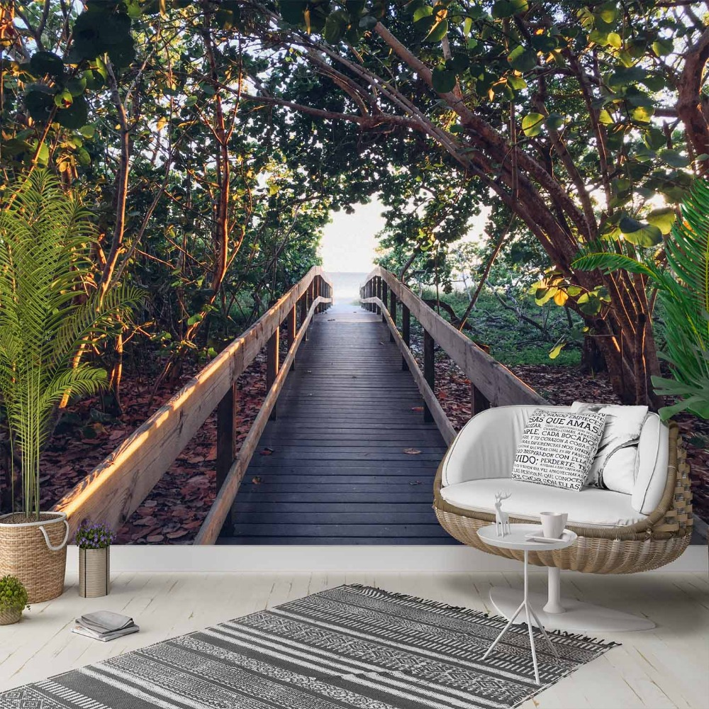 Else Jungle Green Trees Wooden Bridge Floral 3d Photo Cleanable Fabric Mural Home Decor Living Room Bedroom Background Wallpaper
