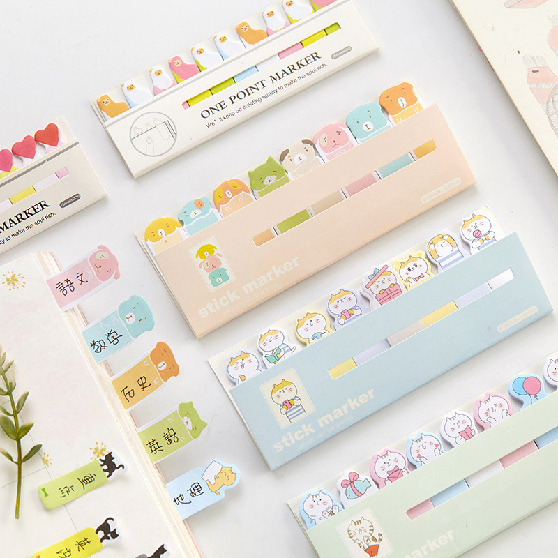 12 sets/1 lot Creative cat Memo Pad Sticky Notes Escolar Papelaria School Supply Bookmark Post it Label