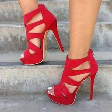 Women Sexy High Heel Sandals Red Suede Open Toe Stilettos Peep Narrow Band Shoes Foe Party Plus Size 46