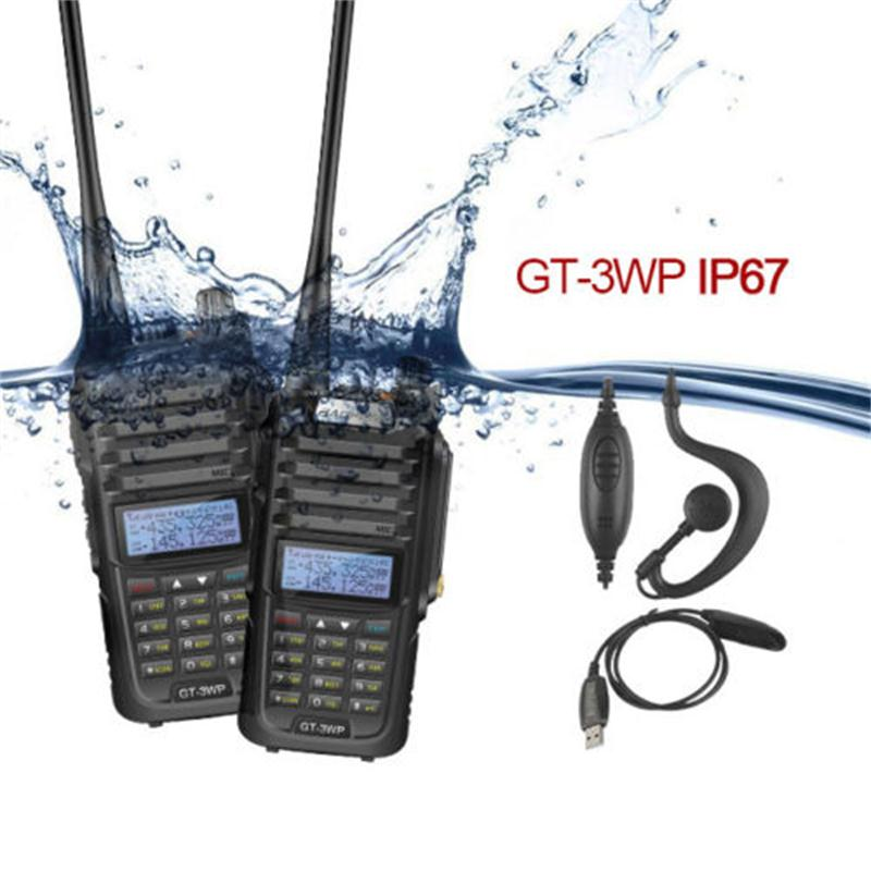 2xBaofeng GT 3WP IP67 V/U Waterproof Dual Band Ham Two Way Radio Walkie Talkie with USB Programming Cable and Car Charger wire