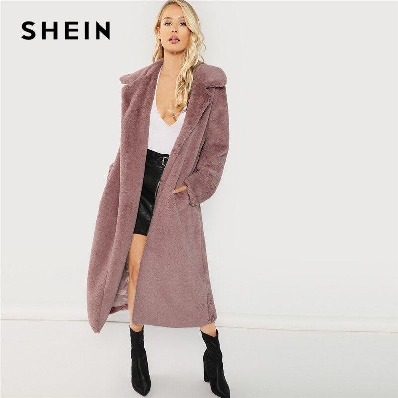 79cb6c9606 SHEIN Pink Office Lady Elegant Open Front Longline Faux Fur Teddy Solid Coat  2018 Autumn Minimalist Women Coats Outerwear