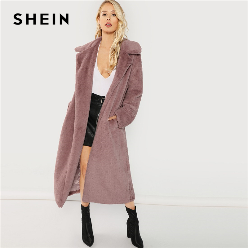 SHEIN Rosa Oficina señora elegante abierto frente largo piel sintética Teddy sólido abrigo 2018 otoño minimalista mujeres abrigos ropa de abrigo