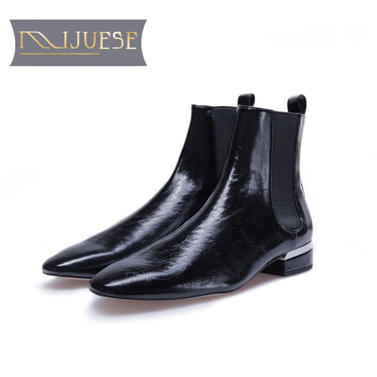 MLJUESE 2019 women ankle boots cow leather black color slip on autumn spring square toe low heel women Chelsea boots czrbt patchwork ankle boots women spring autumn cow suede leather pointed toe black high heel boots thick heel chelsea boots