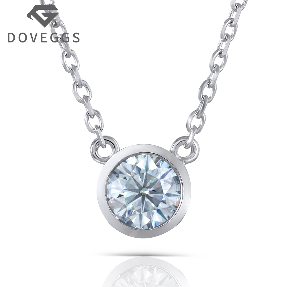 1 Carat 6.5mm Lab Grown Moissanite Round Solitare Pendant Necklace Platinum Plated Silver With Platinum Plated Silver Chain цены