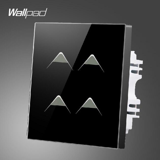 Smart Home Wallpad UK luxe 4 Gang 2 voies 3 voies noir ignifuge verre tactile capteur interrupteur alimentation, livraison gratuite