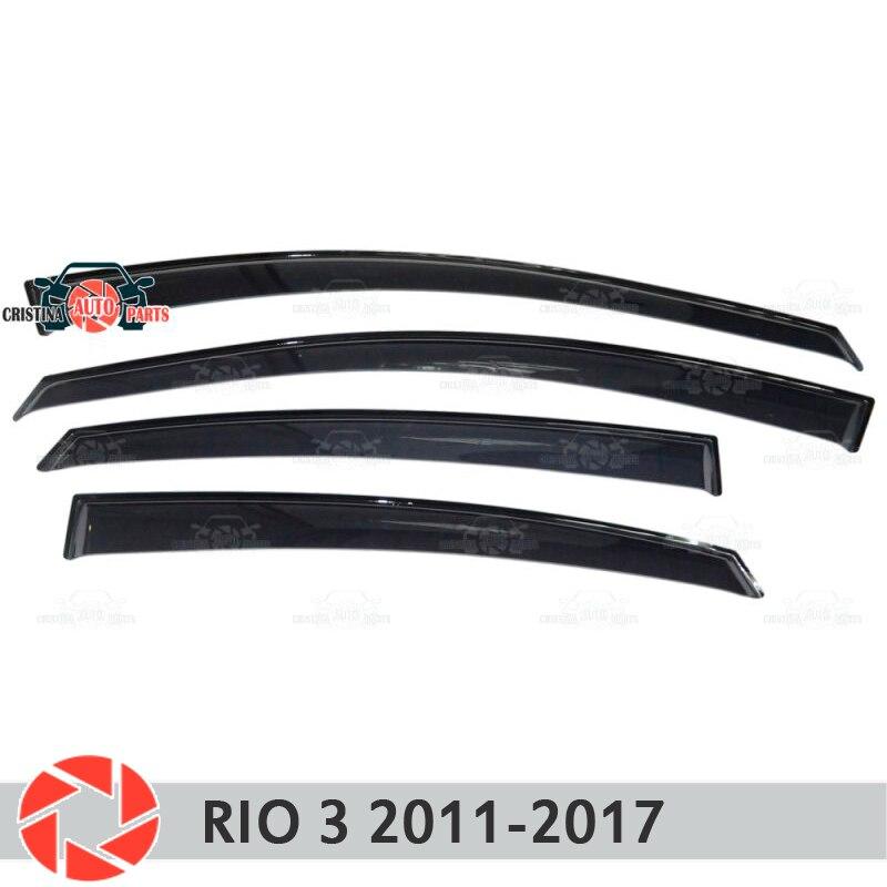 Deflector janela para Kia Rio 3 2011-2017 chuva defletor sujeira proteção styling acessórios de decoração do carro de moldagem