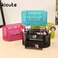 Kicute 9 Compartment Stationery Container Desk Organizer Mesh Metal Desktop Office Pen Pencil Holder Storage Office
