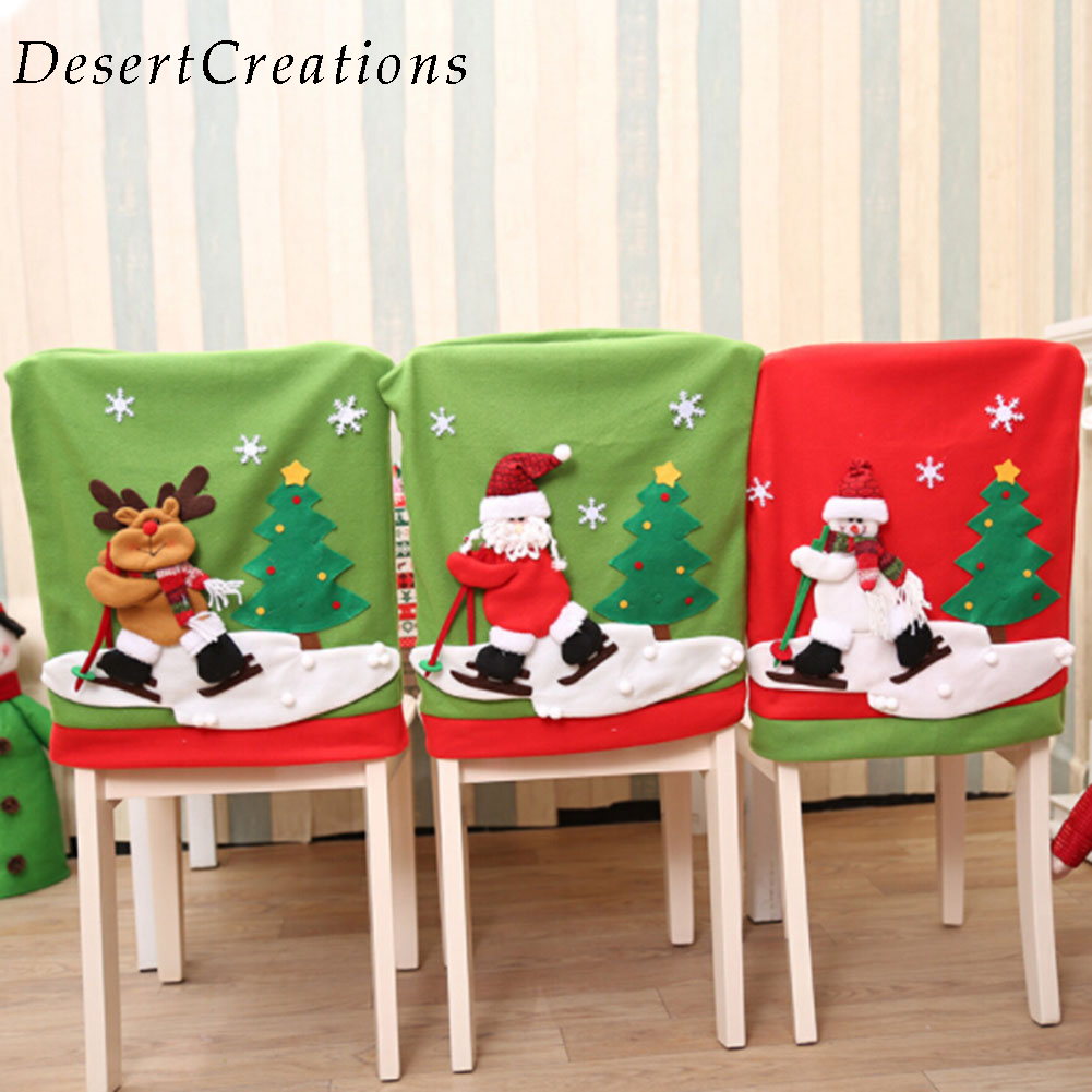 New Arrival 1 PC Santa Claus Christmas Chair Cover Skiing Style Event Xmas Holiday Party DIY