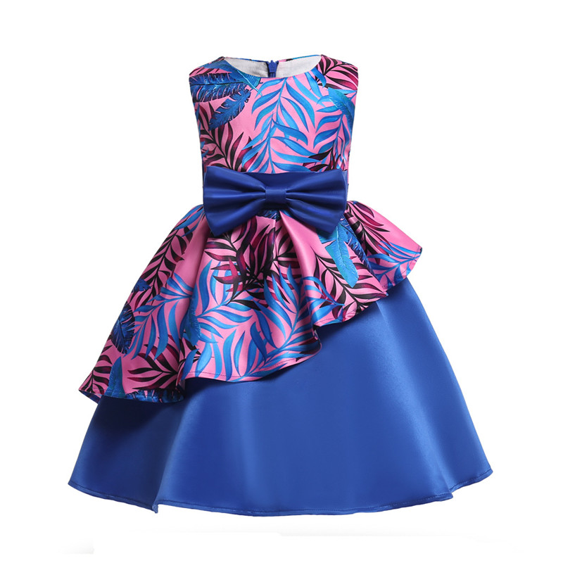 Brand 2018 Elegant Girls Dress Pink Blue Kids Floral Ball Gown Bow Irregular Design Frocks Fancy Princess Party Dresses for GirL