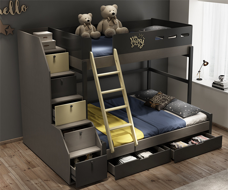 US $1150.0 |Children bedroom furniture modern panel bunk bed with  staircase-in Bedroom Sets from Furniture on AliExpress
