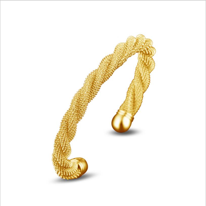 LUKENI Charm Gold Twist Women Bangles Accessories Fashion Girl 925 Silver Bracelets Top Quality Female Bangles Birthday Gift Hot