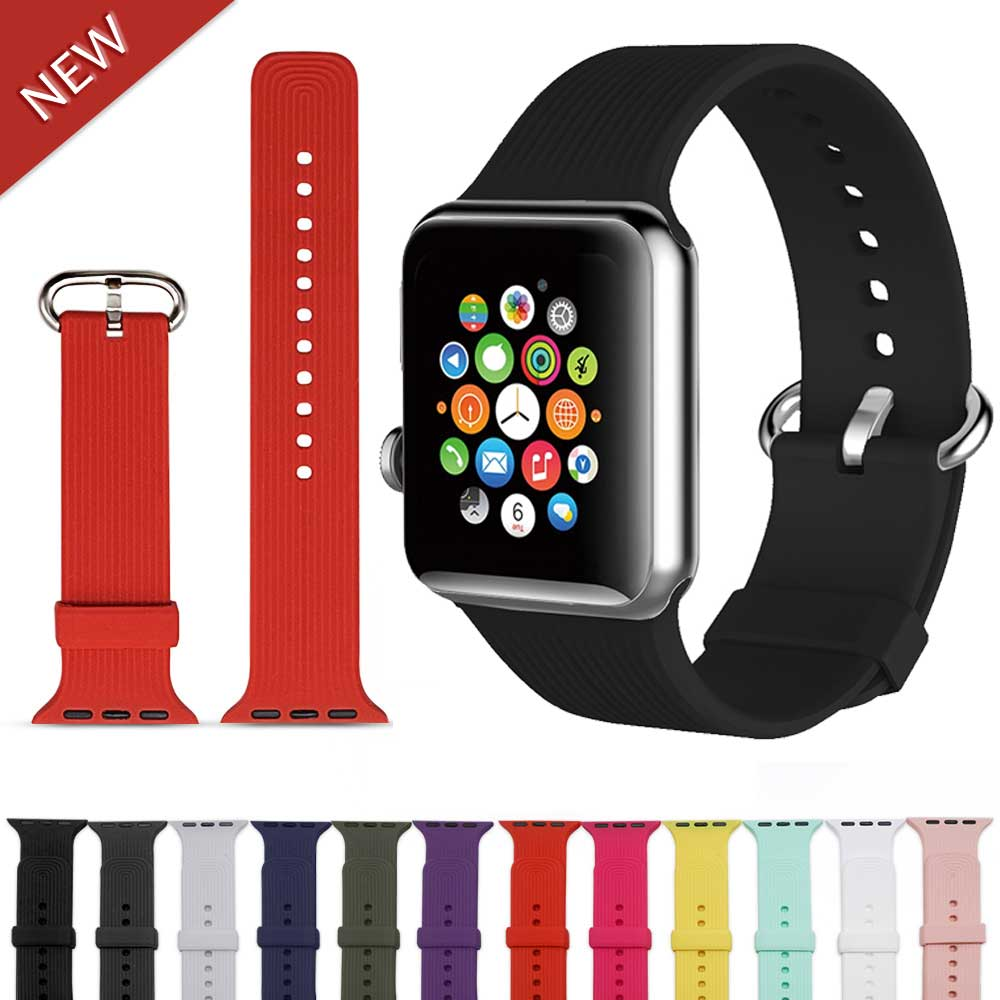 Brand Sport strap For Apple Watch band 42mm 38mm silicone iwatch series 4/3/2/1 44mm/40mm wristband bracelet nikebelt correa 20 colors sport band for apple watch band 44mm 40mm 38mm 42mm replacement watch strap for iwatch bands series 4 3 2 1