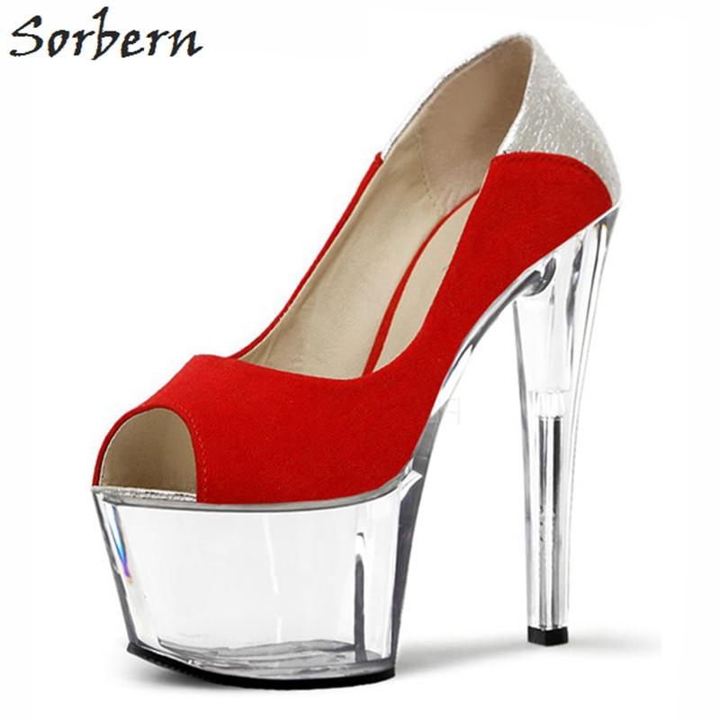 De Mode Blue 15cm See 13cm Sorbern Femmes 13cm forme Sur Peep Toe Blue 13cm Talons Designer 2018 15cm Red Printemps Red Through Haut Heel Clear Red Slip Chaussures Dames Les Plate 684qgnB4d
