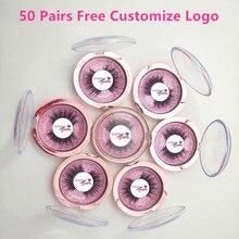 Bezpłatne umieścić Logo 50 Pairs hurtownie 18 styl rzęsy przezroczysty zespół sztuczne rzęsy krzyżowe 3D rzęsy z norek ręcznie rzęsy