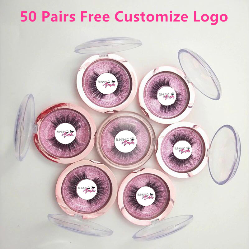 Free Put Logo 50 Pairs Wholesale 18Style Eyelashes Transparent Band False Eyelash Crisscross 3D Mink Lashes