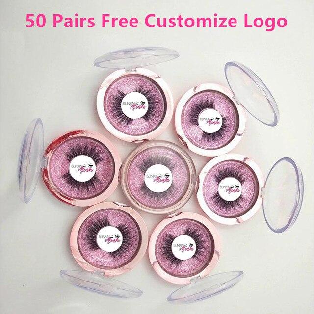 Logo de mise libre 50 paires en gros 18 cils de Style bande transparente faux cils entrecroisés 3D cils de vison à la main cils